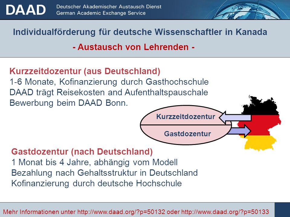 Kurzzeitdozentur (aus Deutschland) 1-6 Monate, Kofinanzierung durch Gasthochschule DAAD trägt Reisekosten and Aufenthaltspauschale Bewerbung beim DAAD