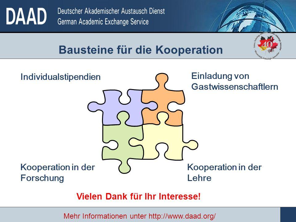Individualstipendien Bausteine für die Kooperation Einladung von Gastwissenschaftlern Kooperation in der Forschung Kooperation in der Lehre Vielen Dank für Ihr Interesse.
