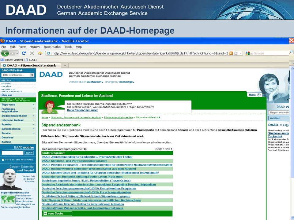 Informationen auf der DAAD-Homepage