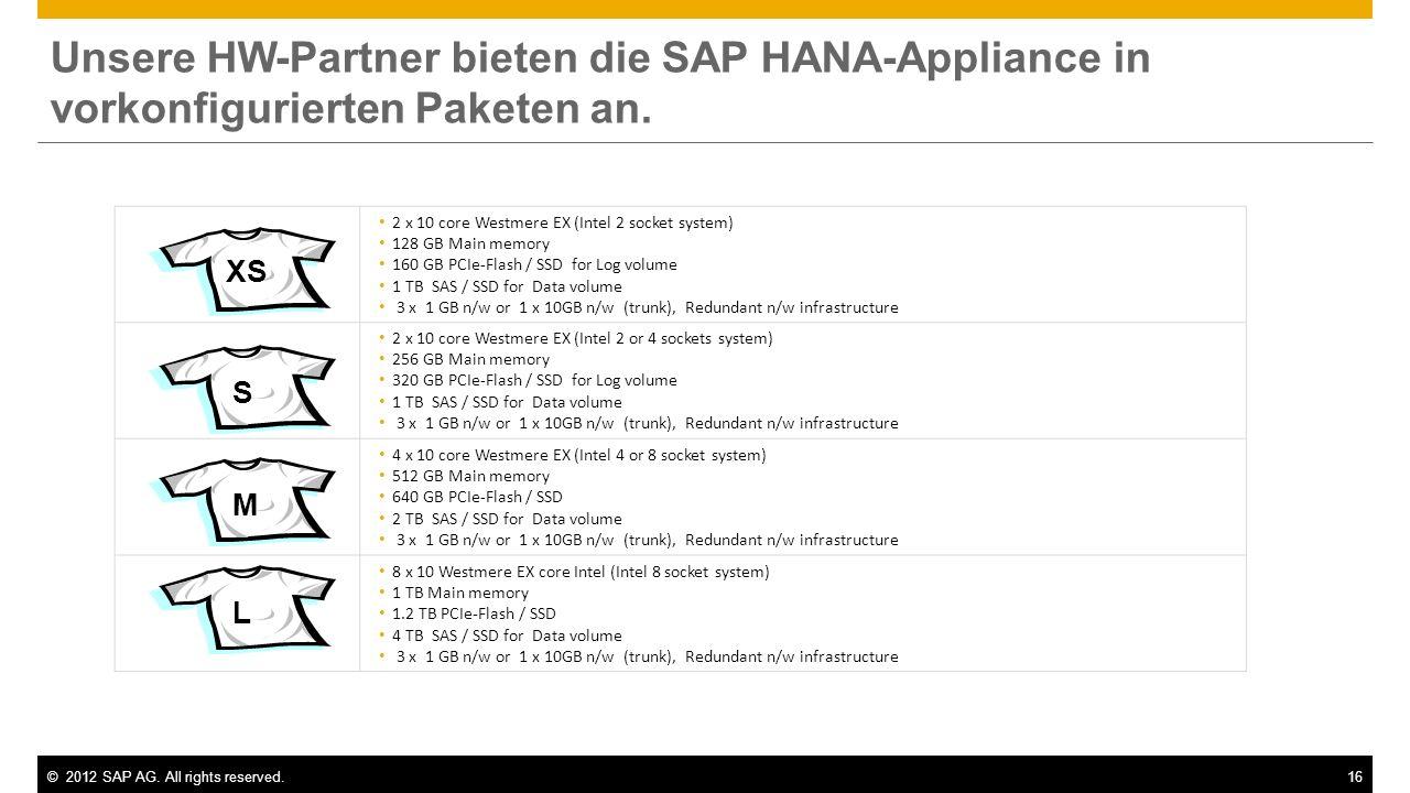 ©2012 SAP AG. All rights reserved.16 Unsere HW-Partner bieten die SAP HANA-Appliance in vorkonfigurierten Paketen an. 2 x 10 core Westmere EX (Intel 2