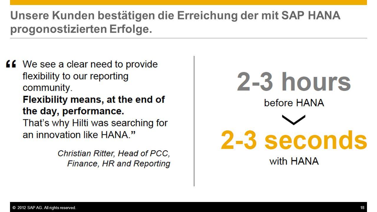 ©2012 SAP AG. All rights reserved.18 Unsere Kunden bestätigen die Erreichung der mit SAP HANA progonostizierten Erfolge.