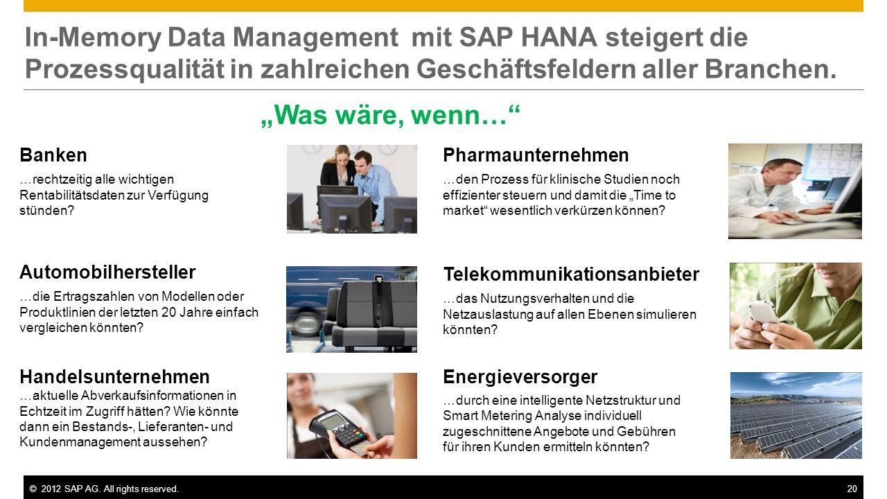 ©2012 SAP AG. All rights reserved.20 In-Memory Data Management mit SAP HANA steigert die Prozessqualität in zahlreichen Geschäftsfeldern aller Branche