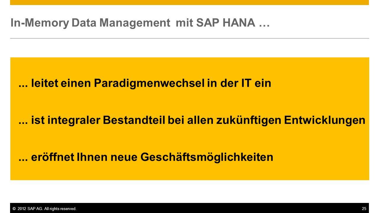 ©2012 SAP AG. All rights reserved.25 In-Memory Data Management mit SAP HANA …... leitet einen Paradigmenwechsel in der IT ein... ist integraler Bestan