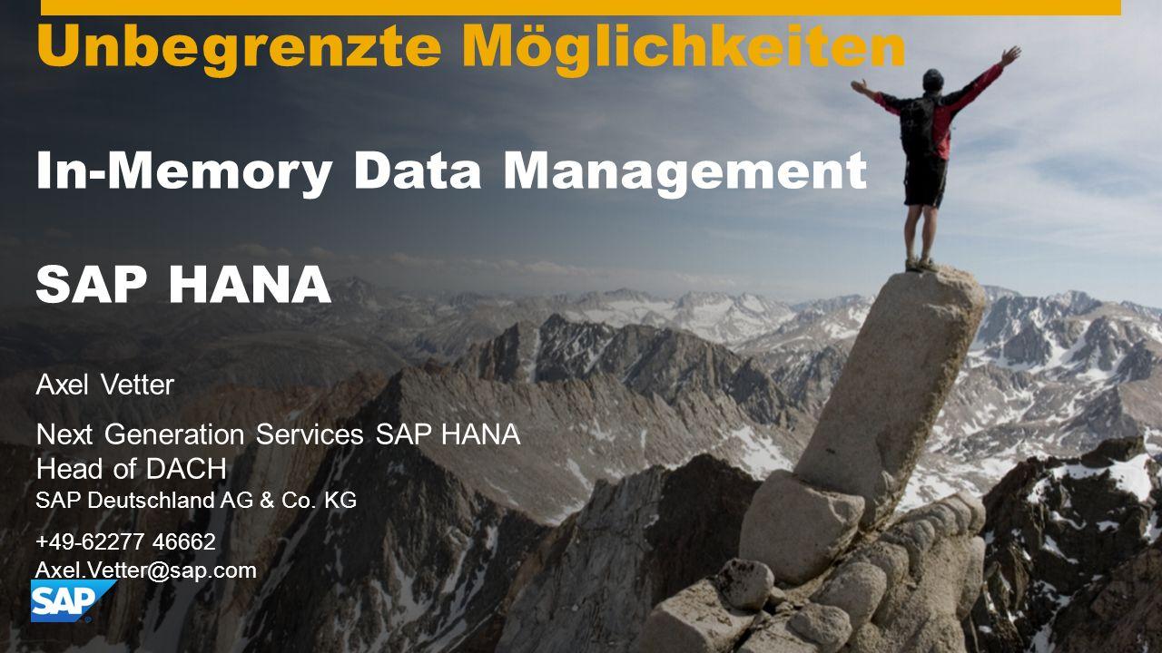 Gemeinsam zum Erfolg Have a Great 2010! Unbegrenzte Möglichkeiten In-Memory Data Management SAP HANA Axel Vetter Next Generation Services SAP HANA Hea