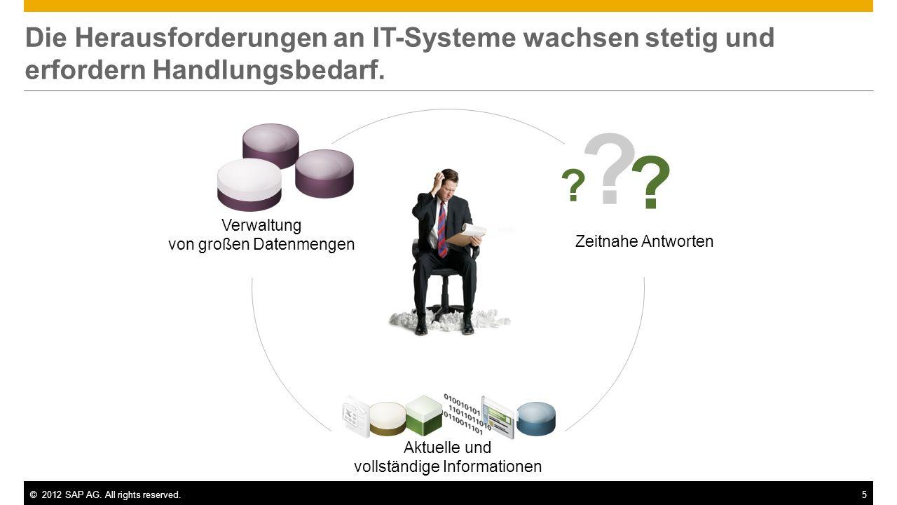 ©2012 SAP AG. All rights reserved.5 Die Herausforderungen an IT-Systeme wachsen stetig und erfordern Handlungsbedarf. Verwaltung von großen Datenmenge