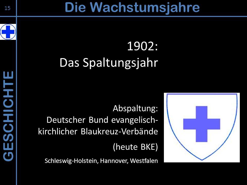 GESCHICHTE Die Wachstumsjahre 15 Abspaltung: Deutscher Bund evangelisch- kirchlicher Blaukreuz-Verbände (heute BKE) Schleswig-Holstein, Hannover, West