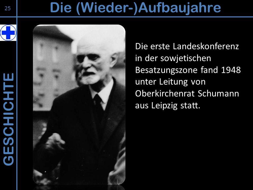GESCHICHTE Die (Wieder-)Aufbaujahre 25 Die erste Landeskonferenz in der sowjetischen Besatzungszone fand 1948 unter Leitung von Oberkirchenrat Schuman