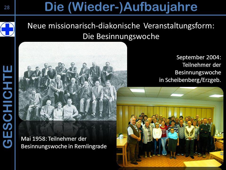 GESCHICHTE Die (Wieder-)Aufbaujahre 28 Neue missionarisch-diakonische Veranstaltungsform: Die Besinnungswoche Mai 1958: Teilnehmer der Besinnungswoche