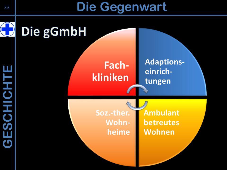 GESCHICHTE Die Gegenwart 33 Fach- kliniken Adaptions- einrich- tungen Ambulant betreutes Wohnen Soz.-ther. Wohn- heime