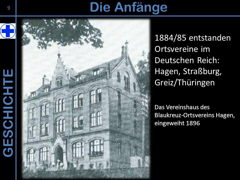 GESCHICHTE Die Anfänge 1884/85 entstanden Ortsvereine im Deutschen Reich: Hagen, Straßburg, Greiz/Thüringen Das Vereinshaus des Blaukreuz-Ortsvereins