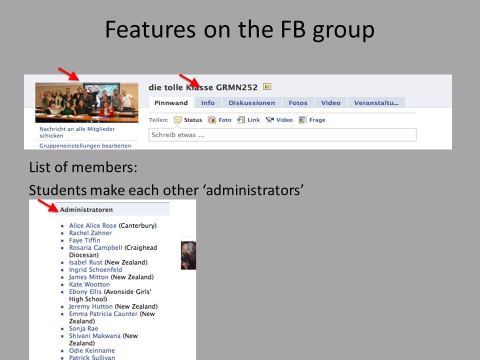Features on the FB group List of members: Students make each other administrators