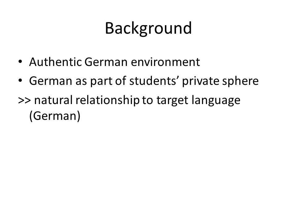 Outcome: Enhanced Motivation Student comments: Based on post- survey created by instructor: Q1: did you enjoy using FB as a platform to present your German video clip.