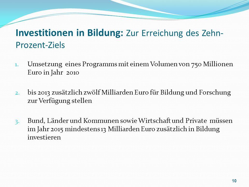 Investitionen in Bildung: Zur Erreichung des Zehn- Prozent-Ziels 1.