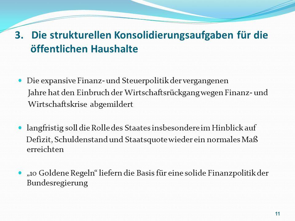 3. Die strukturellen Konsolidierungsaufgaben für die öffentlichen Haushalte Die expansive Finanz- und Steuerpolitik der vergangenen Jahre hat den Einb