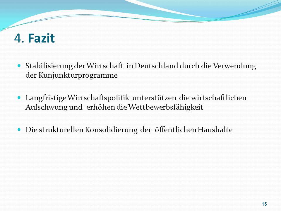 4. Fazit Stabilisierung der Wirtschaft in Deutschland durch die Verwendung der Kunjunkturprogramme Langfristige Wirtschaftspolitik unterstützen die wi