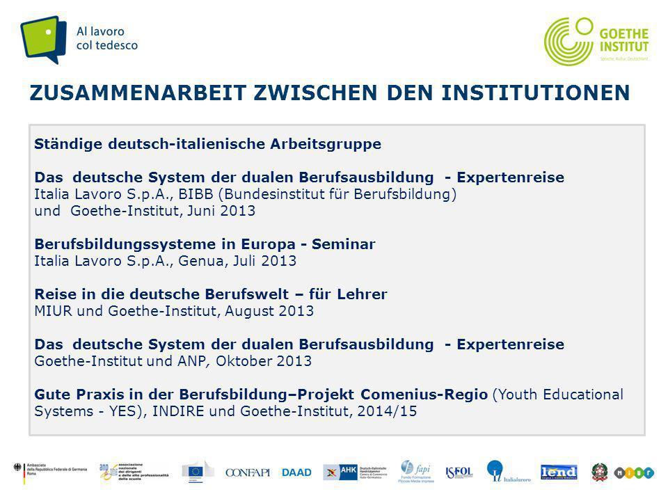 Seite 7 ZUSAMMENARBEIT ZWISCHEN DEN INSTITUTIONEN Ständige deutsch-italienische Arbeitsgruppe Das deutsche System der dualen Berufsausbildung - Expert