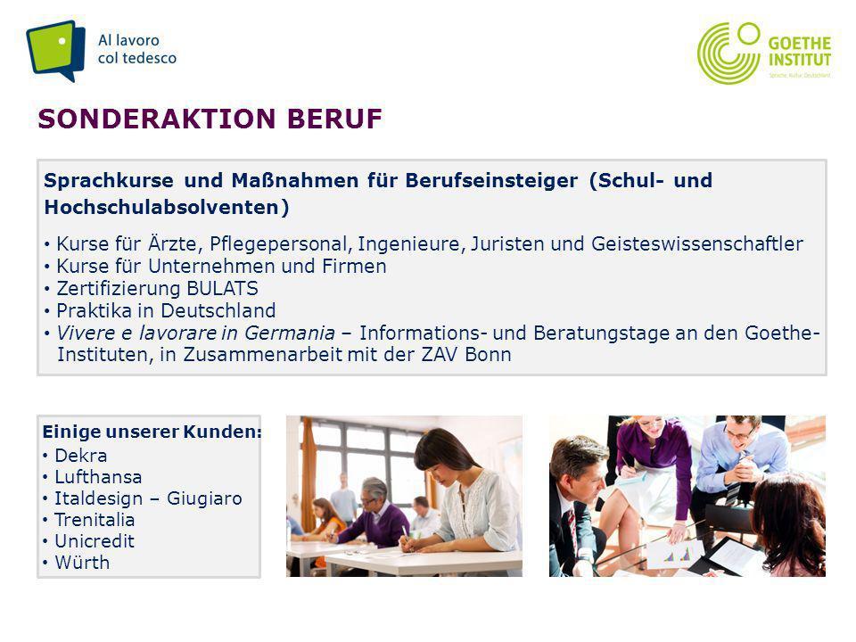 Seite 9 SONDERAKTION BERUF Sprachkurse und Maßnahmen für Berufseinsteiger (Schul- und Hochschulabsolventen) Kurse für Ärzte, Pflegepersonal, Ingenieur