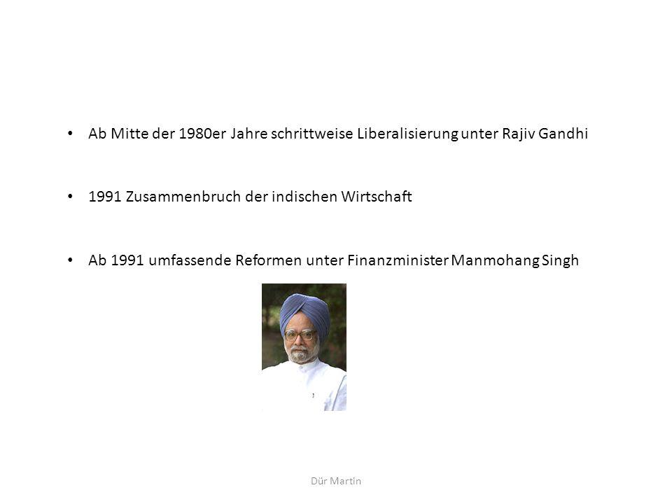 Dür Martin Ab Mitte der 1980er Jahre schrittweise Liberalisierung unter Rajiv Gandhi 1991 Zusammenbruch der indischen Wirtschaft Ab 1991 umfassende Re