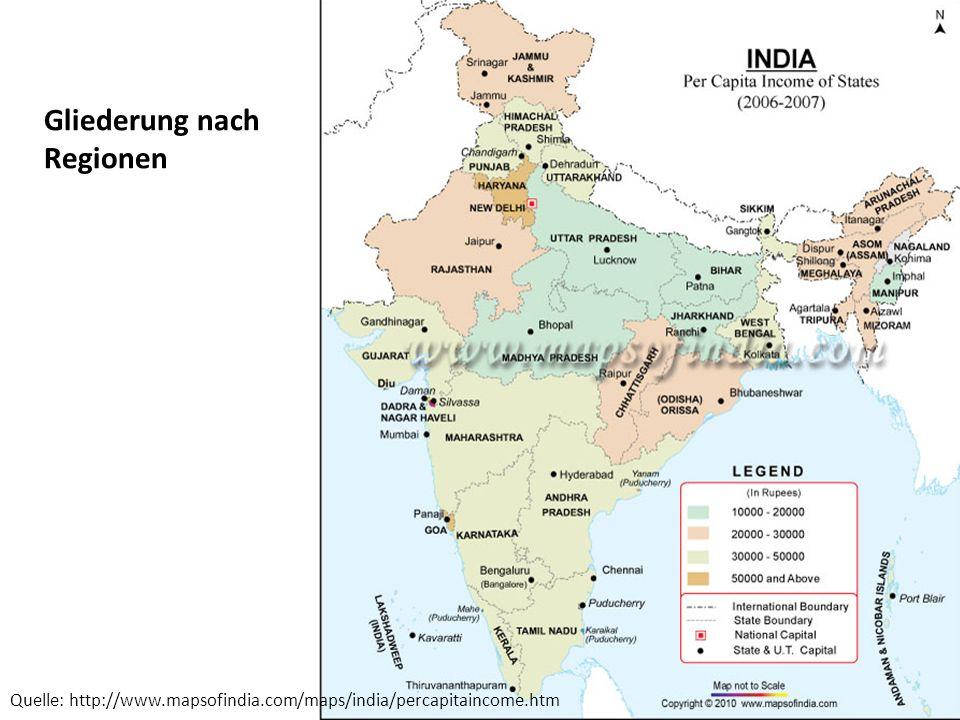 Dür Martin Quelle: http://www.mapsofindia.com/maps/india/percapitaincome.htm Gliederung nach Regionen