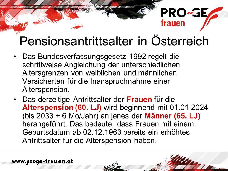 Pensionsantrittsalter in Österreich Das Bundesverfassungsgesetz 1992 regelt die schrittweise Angleichung der unterschiedlichen Altersgrenzen von weiblichen und männlichen Versicherten für die Inanspruchnahme einer Alterspension.