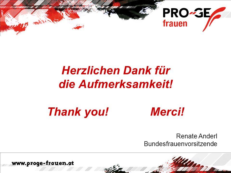 Herzlichen Dank für die Aufmerksamkeit! Thank you! Merci! Renate Anderl Bundesfrauenvorsitzende
