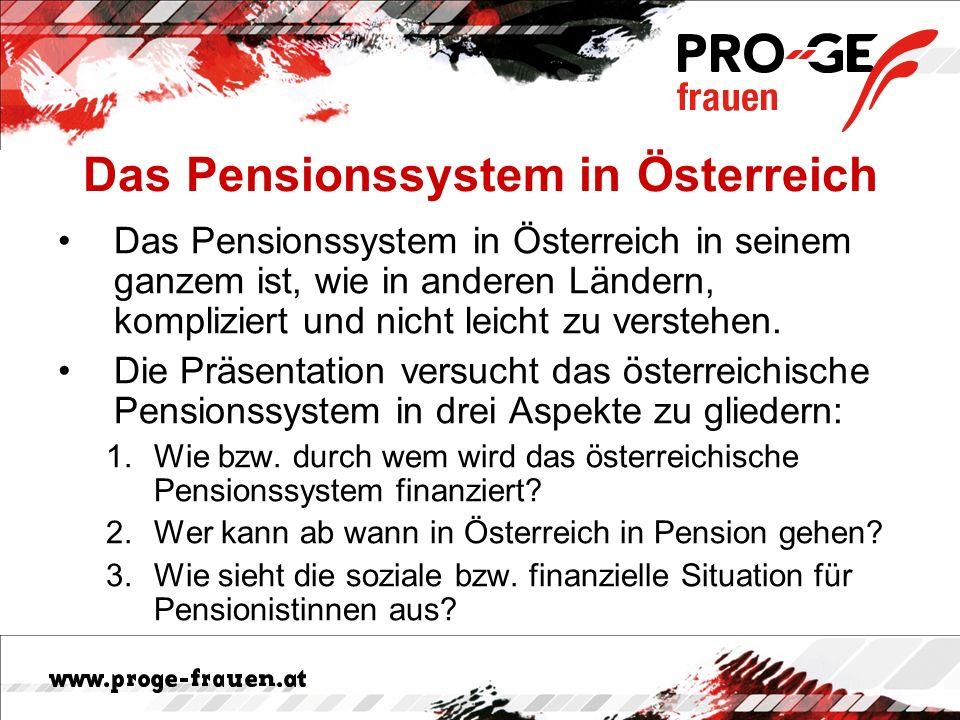 Aufgabe der Pensionsversicherung ist die finanzielle Absicherung –der Versicherten im Alter oder –nach krankheitsbedingtem Ausscheiden aus dem Berufsleben sowie –der hinterbliebenen Angehörigen Pensionssystem in Österreich