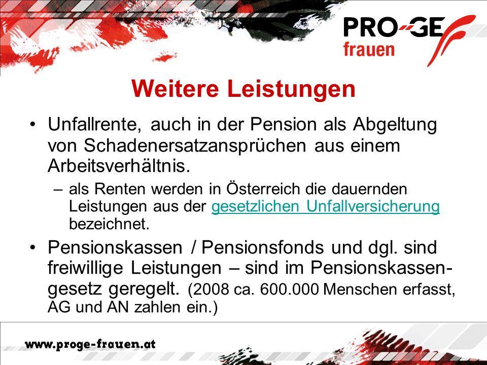 Weitere Leistungen Unfallrente, auch in der Pension als Abgeltung von Schadenersatzansprüchen aus einem Arbeitsverhältnis. –als Renten werden in Öster