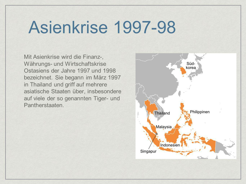 Asienkrise 1997-98 Mit Asienkrise wird die Finanz-, Währungs- und Wirtschaftskrise Ostasiens der Jahre 1997 und 1998 bezeichnet. Sie begann im März 19
