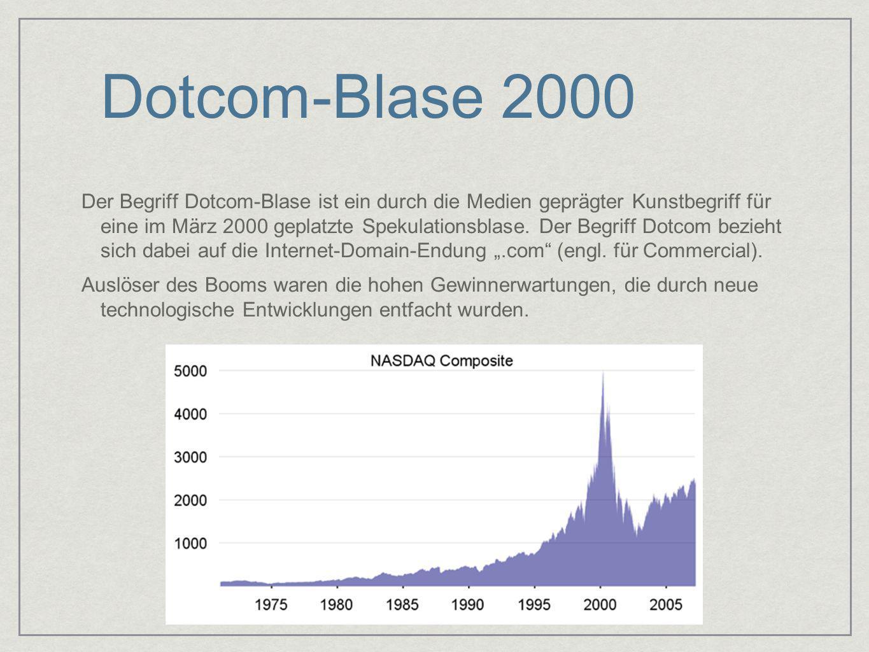 Dotcom-Blase 2000 Der Begriff Dotcom-Blase ist ein durch die Medien geprägter Kunstbegriff für eine im März 2000 geplatzte Spekulationsblase. Der Begr