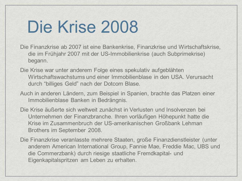 Die Krise 2008 Die Finanzkrise ab 2007 ist eine Bankenkrise, Finanzkrise und Wirtschaftskrise, die im Frühjahr 2007 mit der US-Immobilienkrise (auch S