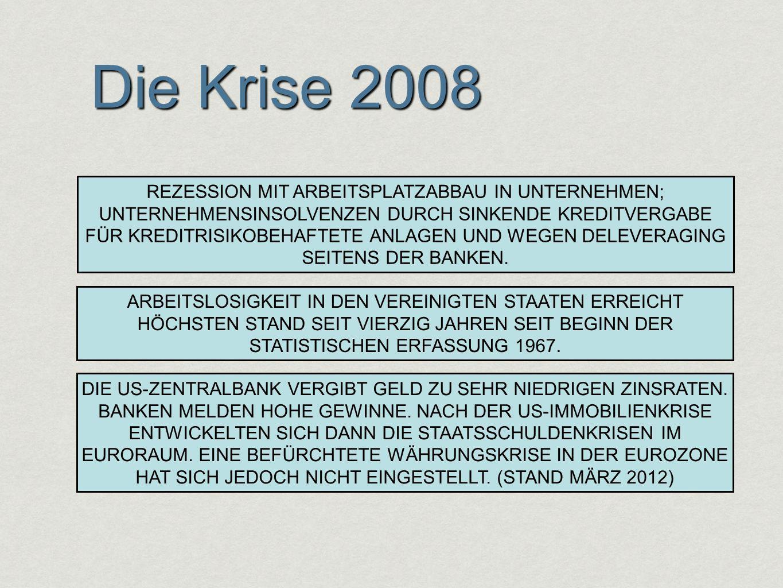 Die Krise 2008 DIE US-ZENTRALBANK VERGIBT GELD ZU SEHR NIEDRIGEN ZINSRATEN. BANKEN MELDEN HOHE GEWINNE. NACH DER US-IMMOBILIENKRISE ENTWICKELTEN SICH