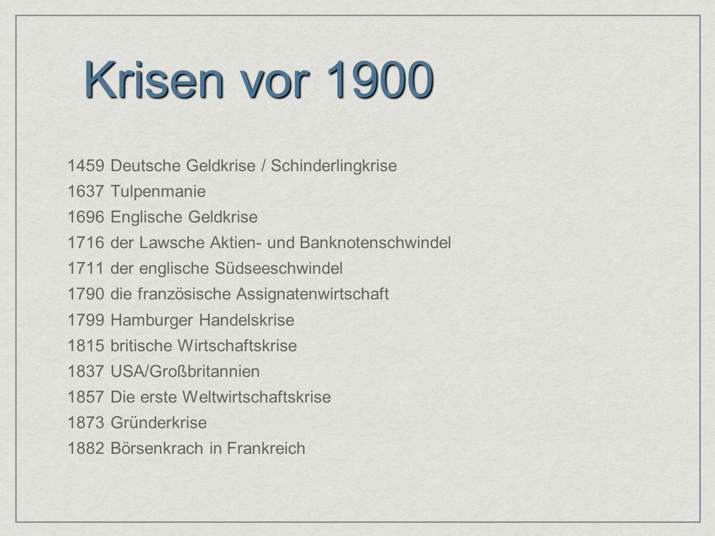 Krisen vor 1900 1459Deutsche Geldkrise / Schinderlingkrise 1637Tulpenmanie 1696Englische Geldkrise 1716der Lawsche Aktien- und Banknotenschwindel 1711