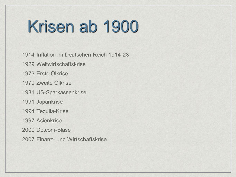 Krisen ab 1900 1914Inflation im Deutschen Reich 1914-23 1929Weltwirtschaftskrise 1973Erste Ölkrise 1979Zweite Ölkrise 1981US-Sparkassenkrise 1991Japan