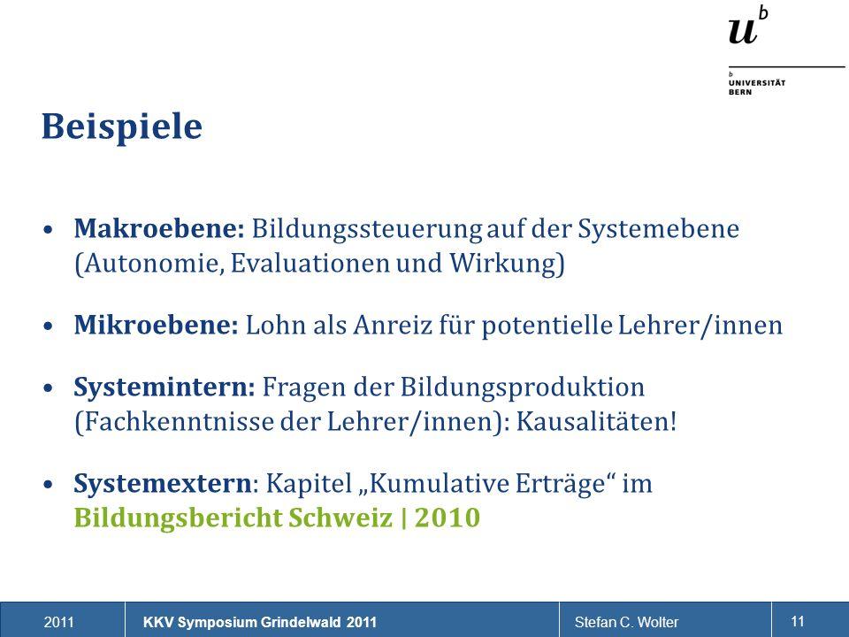 2011Stefan C. Wolter 11 Beispiele Makroebene: Bildungssteuerung auf der Systemebene (Autonomie, Evaluationen und Wirkung) Mikroebene: Lohn als Anreiz