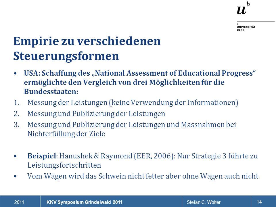 2011Stefan C. Wolter 14 Empirie zu verschiedenen Steuerungsformen USA: Schaffung des National Assessment of Educational Progress ermöglichte den Vergl