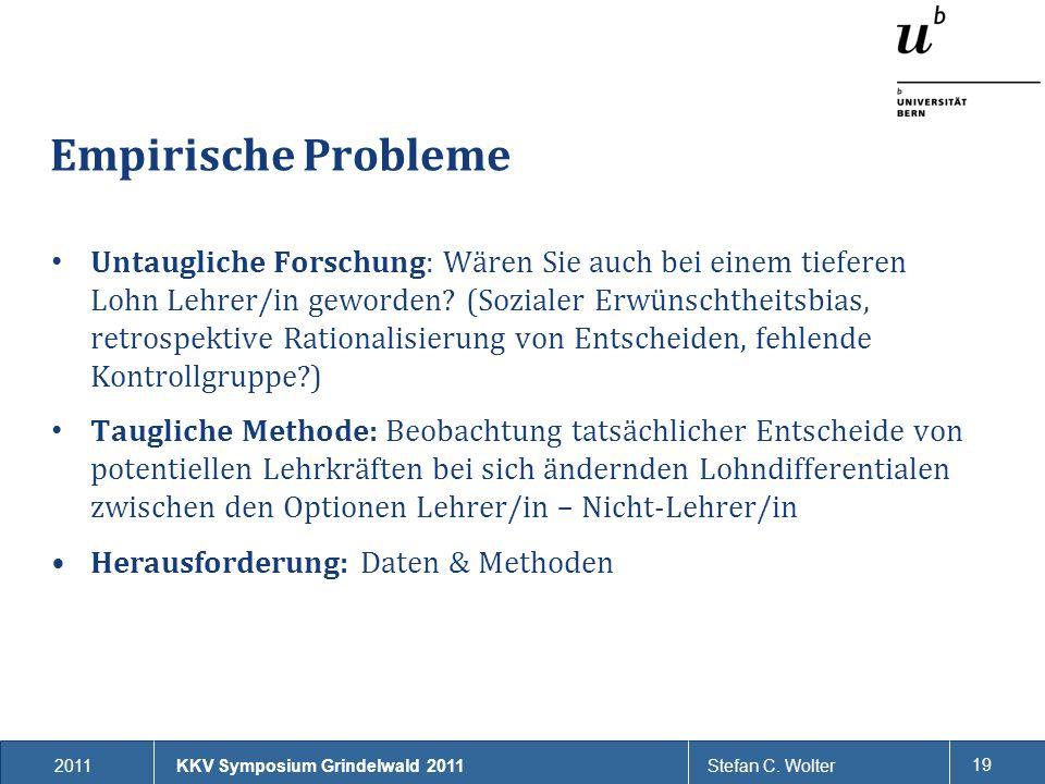 2011Stefan C. Wolter 19 Empirische Probleme KKV Symposium Grindelwald 2011 Untaugliche Forschung: Wären Sie auch bei einem tieferen Lohn Lehrer/in gew