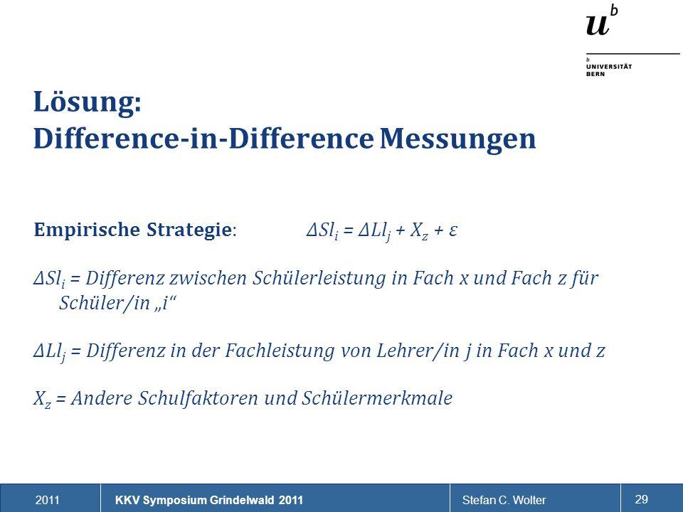 2011Stefan C. Wolter 29 Lösung: Difference-in-Difference Messungen Empirische Strategie: ΔSl i = ΔLl j + X z + ɛ ΔSl i = Differenz zwischen Schülerlei