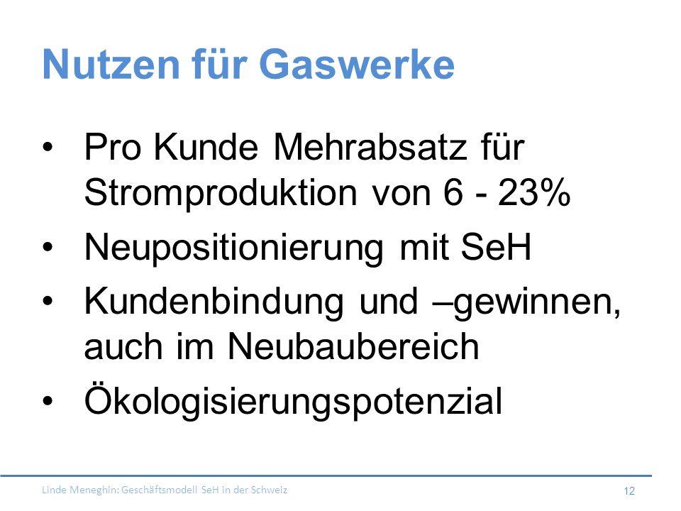 Linde Meneghin: Geschäftsmodell SeH in der Schweiz 12 Nutzen für Gaswerke Pro Kunde Mehrabsatz für Stromproduktion von 6 - 23% Neupositionierung mit S