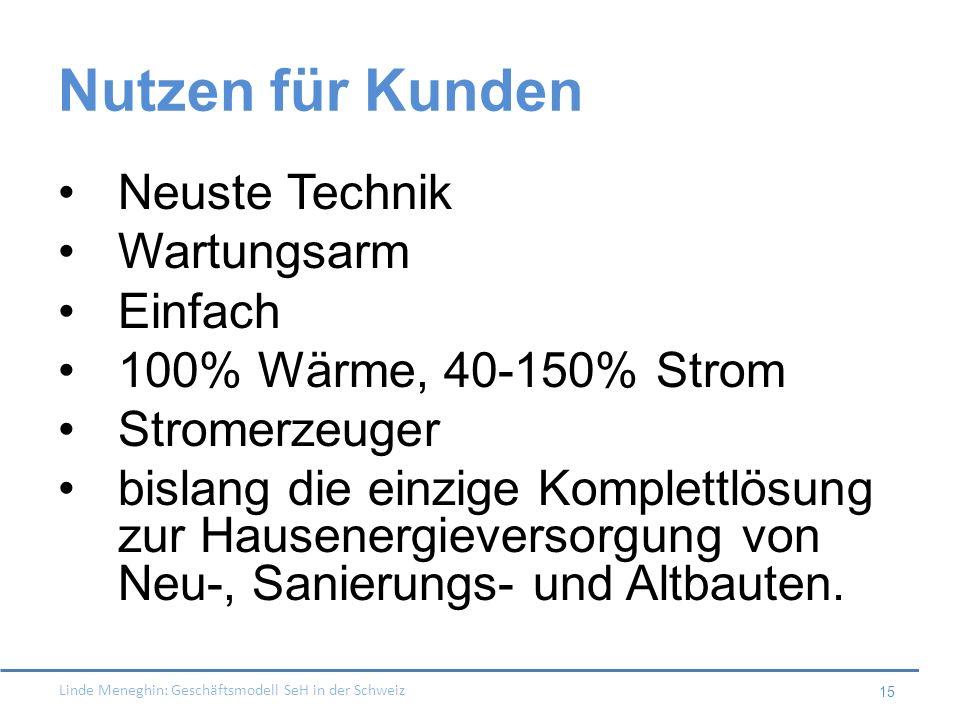 Linde Meneghin: Geschäftsmodell SeH in der Schweiz 15 Nutzen für Kunden Neuste Technik Wartungsarm Einfach 100% Wärme, 40-150% Strom Stromerzeuger bis
