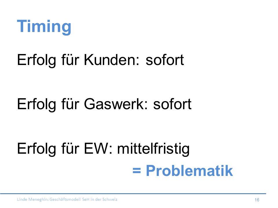 Linde Meneghin: Geschäftsmodell SeH in der Schweiz 16 Timing Erfolg für Kunden: sofort Erfolg für Gaswerk: sofort Erfolg für EW: mittelfristig = Probl