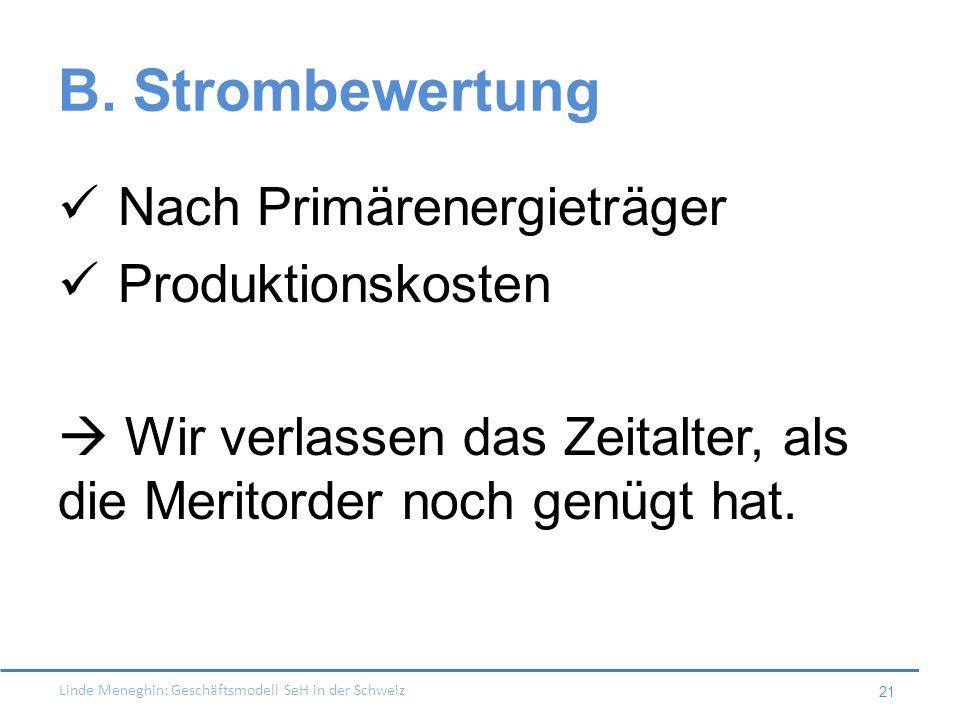 Linde Meneghin: Geschäftsmodell SeH in der Schweiz 21 B. Strombewertung Nach Primärenergieträger Produktionskosten Wir verlassen das Zeitalter, als di