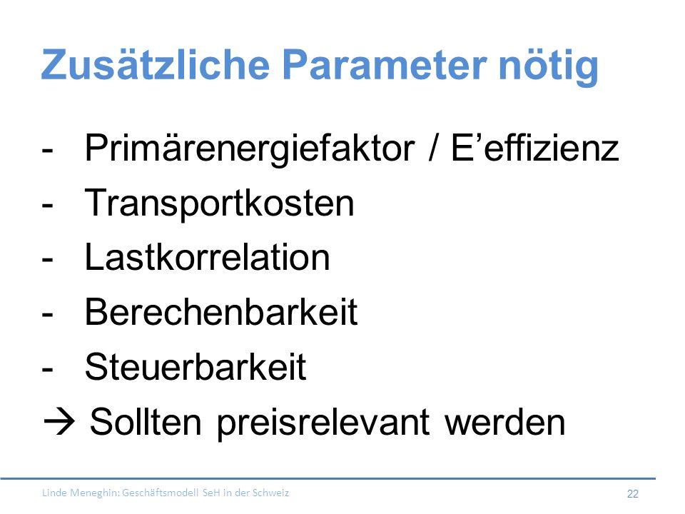 Linde Meneghin: Geschäftsmodell SeH in der Schweiz 22 Zusätzliche Parameter nötig -Primärenergiefaktor / Eeffizienz -Transportkosten -Lastkorrelation