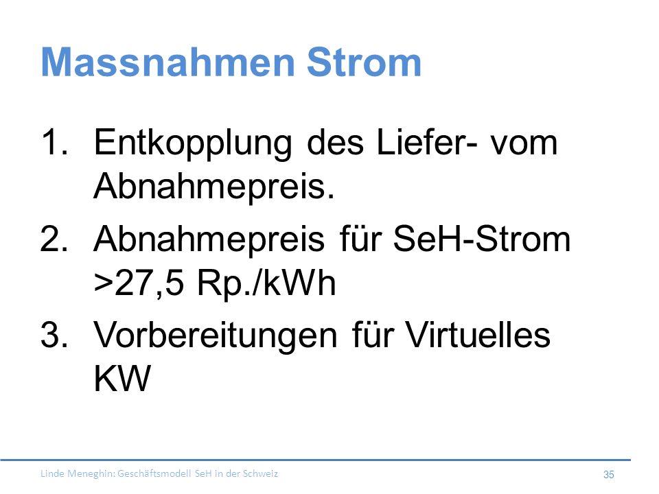 Linde Meneghin: Geschäftsmodell SeH in der Schweiz 35 Massnahmen Strom 1.Entkopplung des Liefer- vom Abnahmepreis. 2.Abnahmepreis für SeH-Strom >27,5
