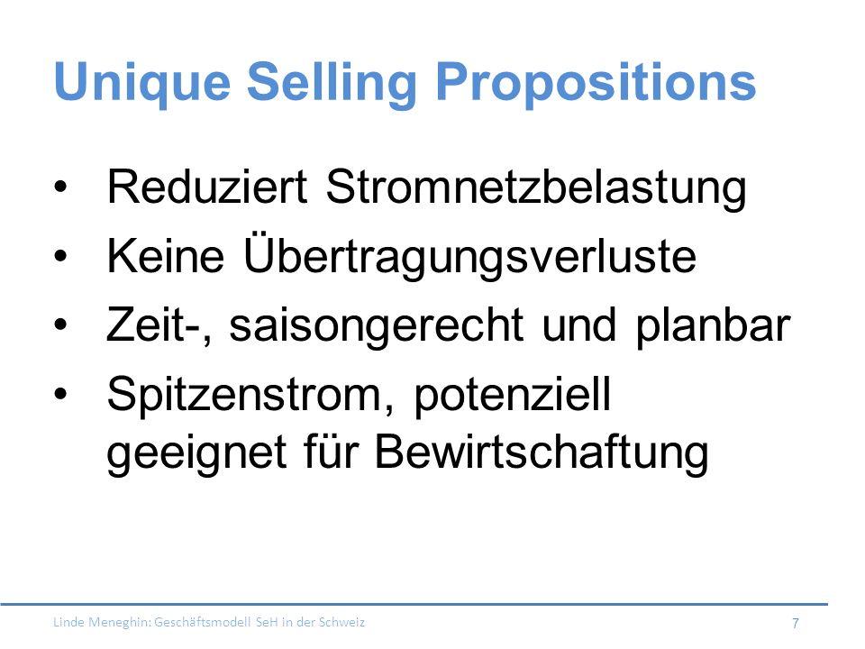 Linde Meneghin: Geschäftsmodell SeH in der Schweiz 7 Unique Selling Propositions Reduziert Stromnetzbelastung Keine Übertragungsverluste Zeit-, saison