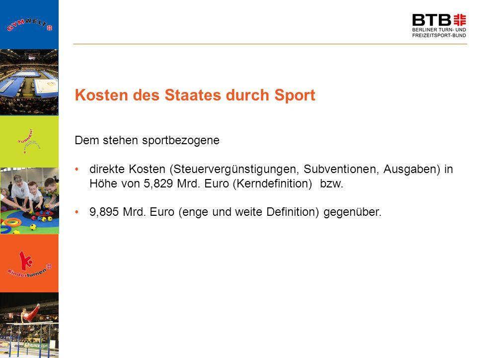 Kosten des Staates durch Sport Dem stehen sportbezogene direkte Kosten (Steuervergünstigungen, Subventionen, Ausgaben) in Höhe von 5,829 Mrd. Euro (Ke