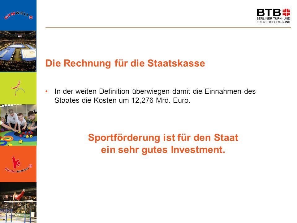 Die Rechnung für die Staatskasse In der weiten Definition überwiegen damit die Einnahmen des Staates die Kosten um 12,276 Mrd. Euro. Sportförderung is