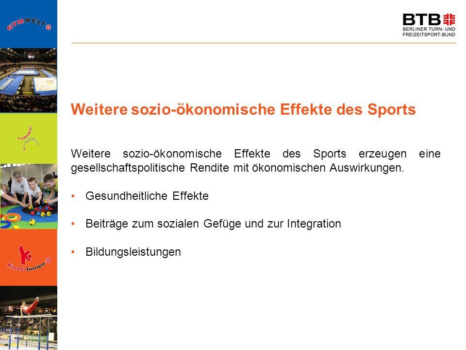 Weitere sozio-ökonomische Effekte des Sports Weitere sozio-ökonomische Effekte des Sports erzeugen eine gesellschaftspolitische Rendite mit ökonomisch