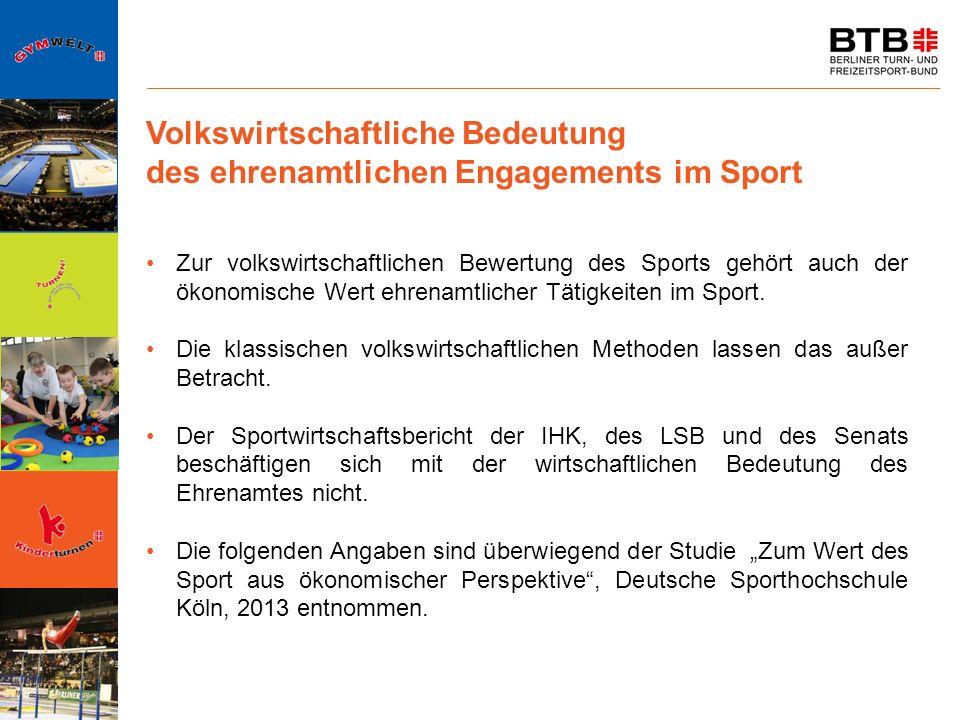 Volkswirtschaftliche Bedeutung des ehrenamtlichen Engagements im Sport Zur volkswirtschaftlichen Bewertung des Sports gehört auch der ökonomische Wert