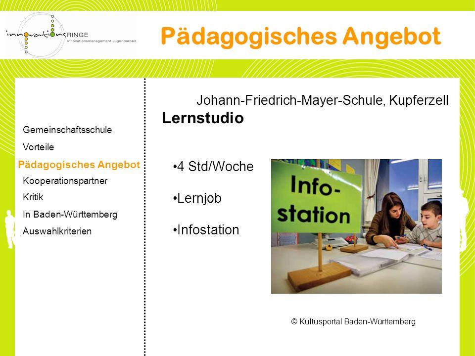Johann-Friedrich-Mayer-Schule, Kupferzell Lernstudio 4 Std/Woche Lernjob Infostation © Kultusportal Baden-Württemberg Pädagogisches Angebot Gemeinscha
