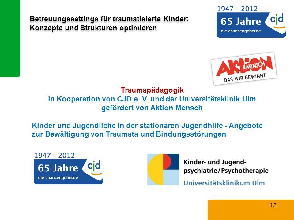 Betreuungssettings für traumatisierte Kinder: Konzepte und Strukturen optimieren Traumapädagogik In Kooperation von CJD e. V. und der Universitätsklin